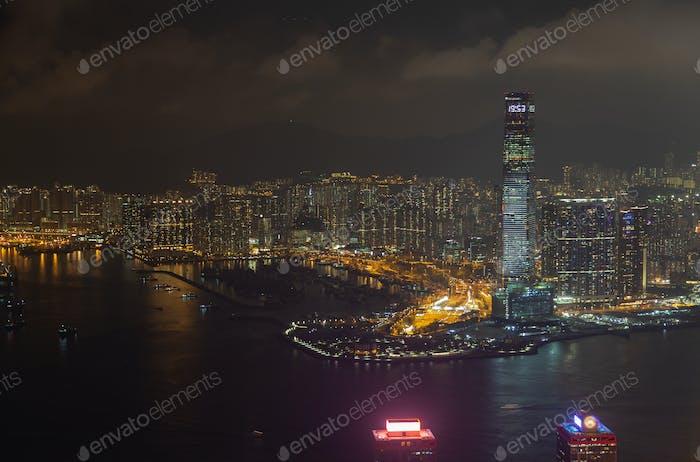 Cityscape Hong Kong Yau Tsim Mong district skyscraper