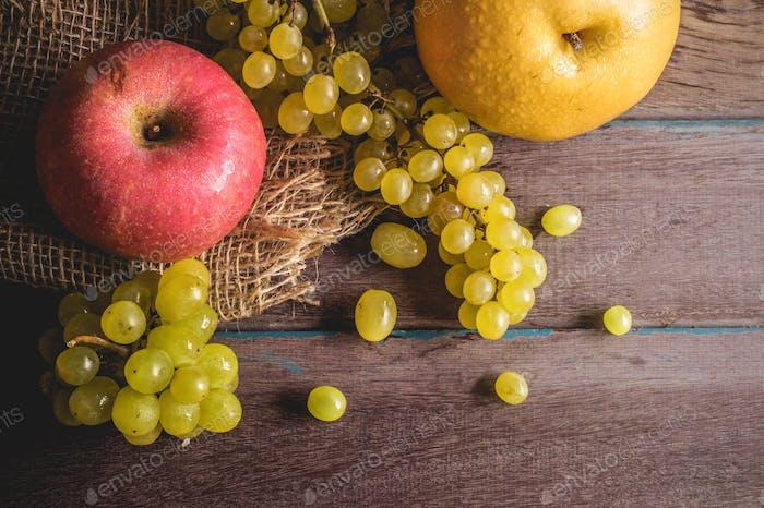Fresh apples on table