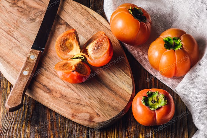Sliced Persimmon on Board