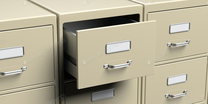 Filing cabinets and open drawer. Office document file organisation. 3d illustration