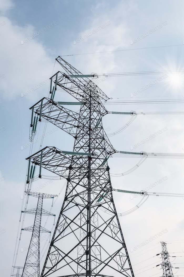 transmission tower in sunlight