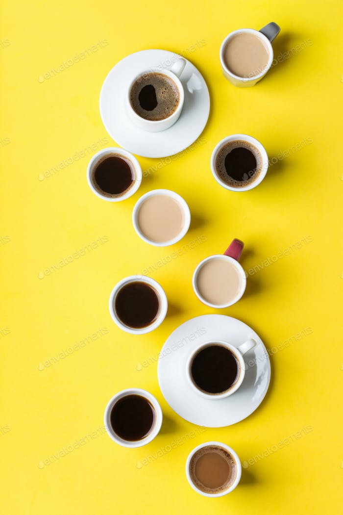 Creative flat lay with assortment of coffee cups