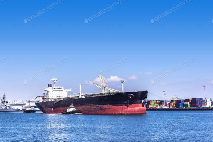 Oil Tanker and tug boats