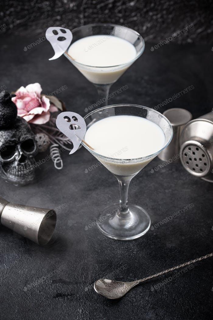 Halloween drink Liquid ghost. Coconut cocktail