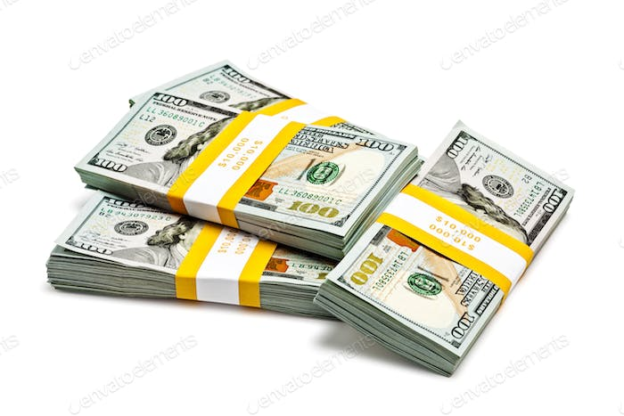 Bundles of 100 US dollars 2013 banknotes bills