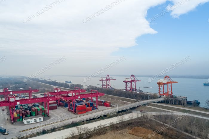 inland container terminal closeup