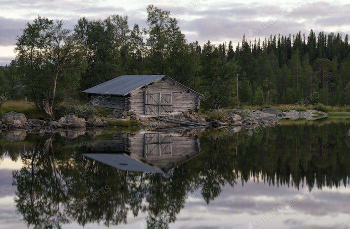 Boathouse on a Swedish lake