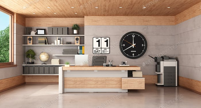 Modern office with concrete and wooden paneling