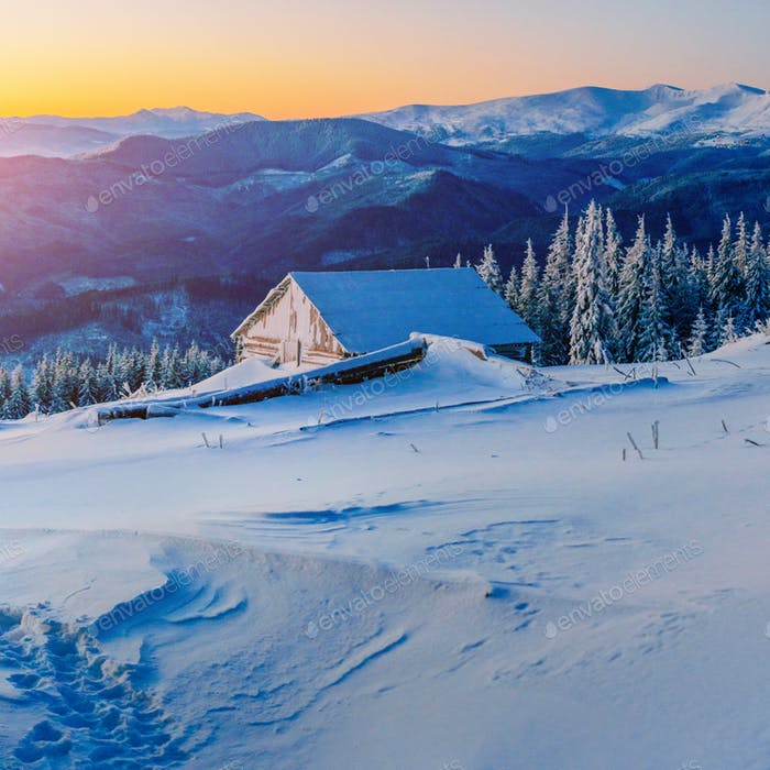 chalets in the mountains at sunset. Carpathian, Ukraine, Europe