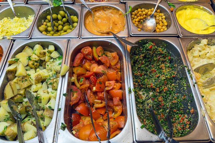 Colourful salad buffet