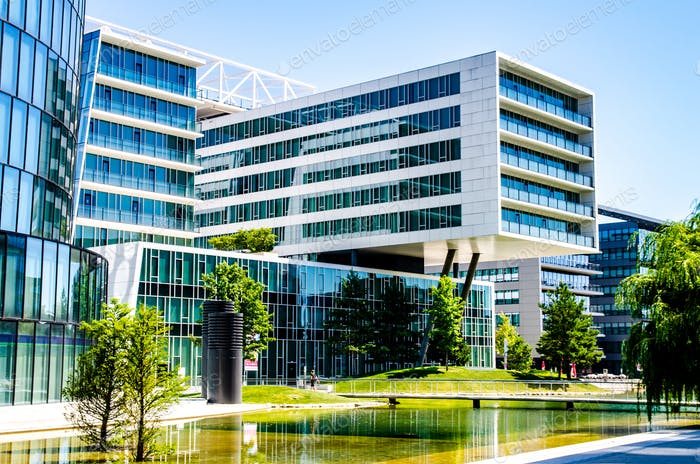 Modern architecture buildings in Vienna Austria Europe metal glass and concrete