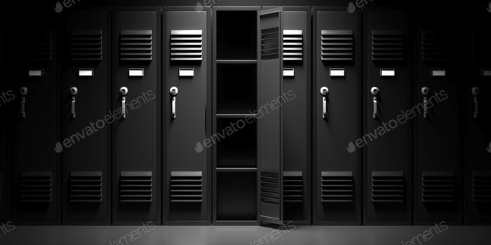 School, gym lockers, black color, one open door. 3d illustration