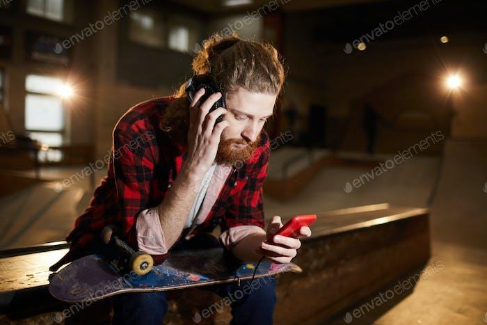 Skater Listening to Music