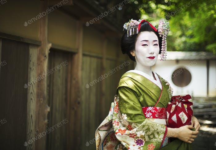 A woman dressed in the traditional geisha style, wearing a kimono and obi, with an elaborate