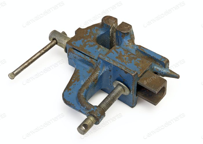 Blue steel vise on white background