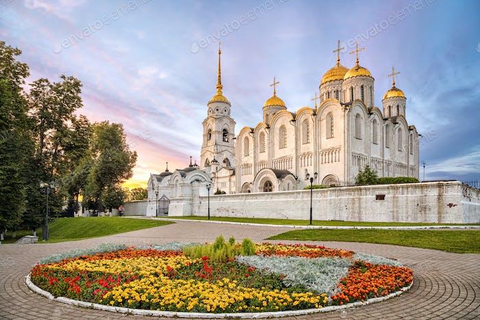 Uspenskiy cathedral on sunset in Vladimir