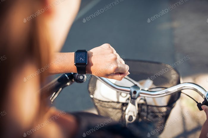 Hand of a woman with smartwatch