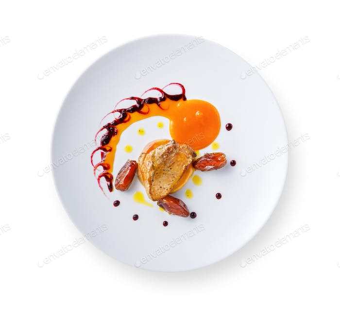 Goose liver with date fruit and berry sauce
