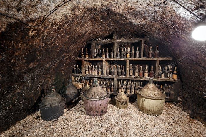 Old bottles of wine