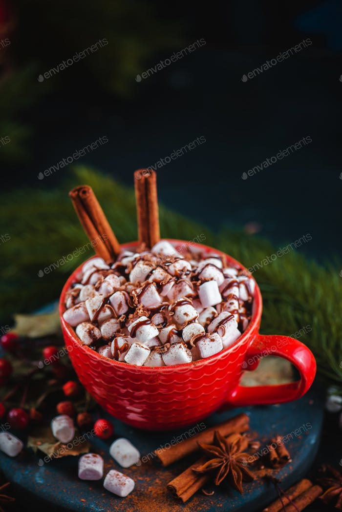 Christmas cocoa header with marshmallows, chocolate crumbs, and syrup. Large coffee cup with