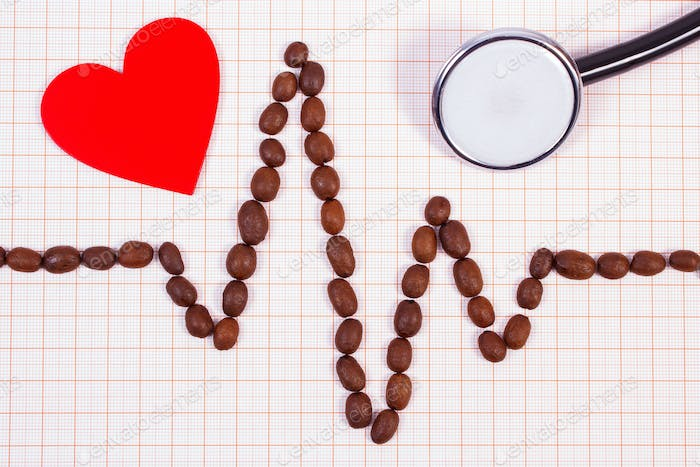 Cardiogram line made of coffee grains, stethoscope and red heart