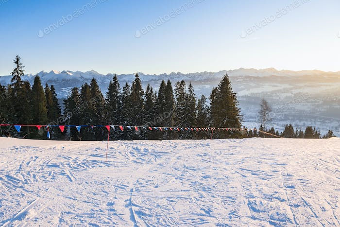 Winter afternoon landscape of Tatra Mountains