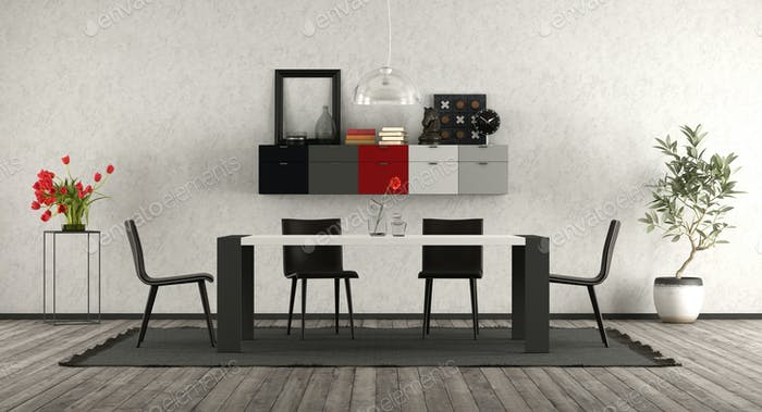 Modern dining room with black and white furniture