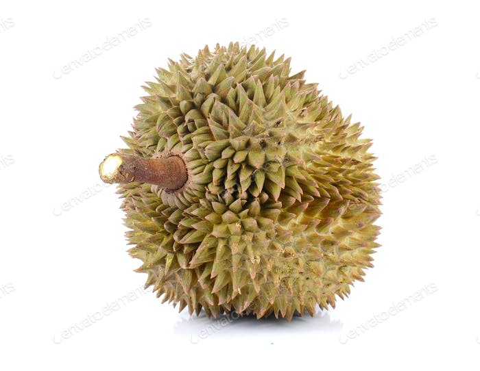 Durian , King of Fruits on white background.