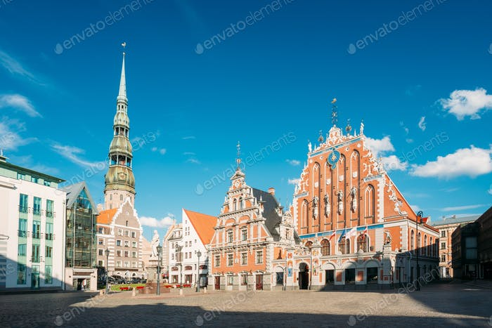 St. Peter's Church And House Of  The Blackheads In Riga, Latvia.