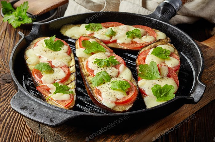 grilled eggplants on cooking pan