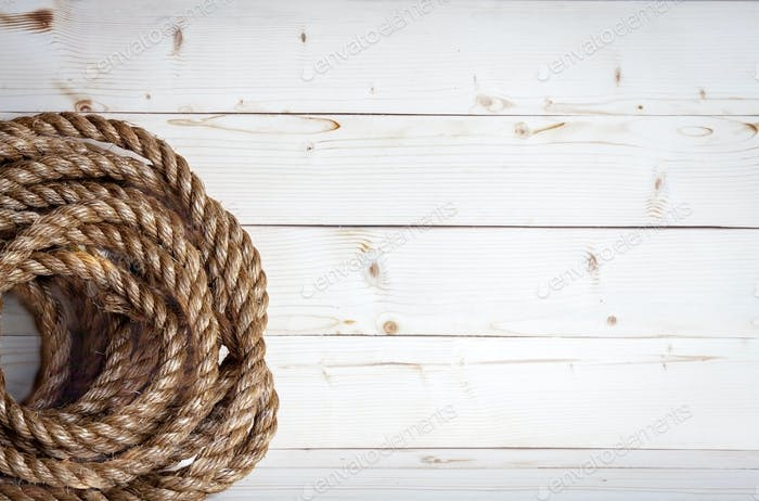 White wood with rope background