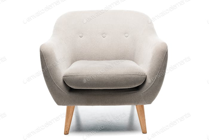 comfortable grey modern armchair on white