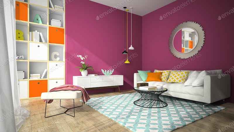 Interior of modern dining room with red wall 3D rendering photo by ...