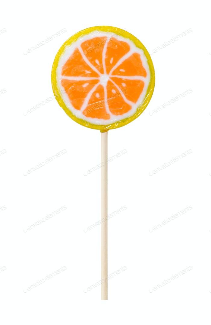 Lollipop in form of slice of orange