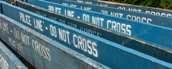 Police line do not cross background, NYPD. Manhattan, New York