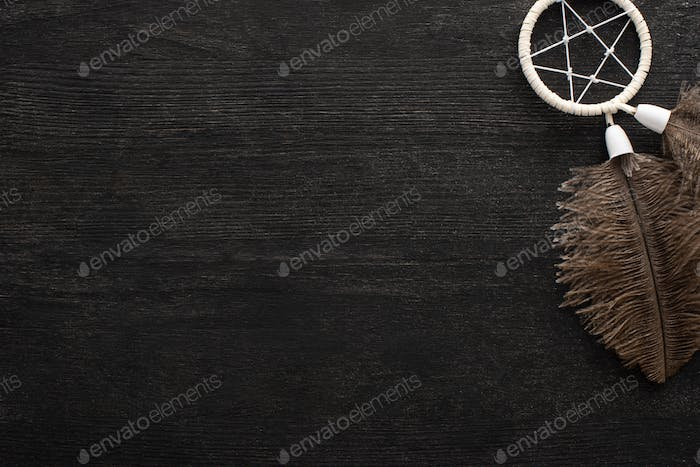 Top View of Dreamcatcher With Feathers on Black Wooden Background