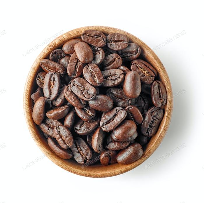 Holzschüssel Kaffeebohnen