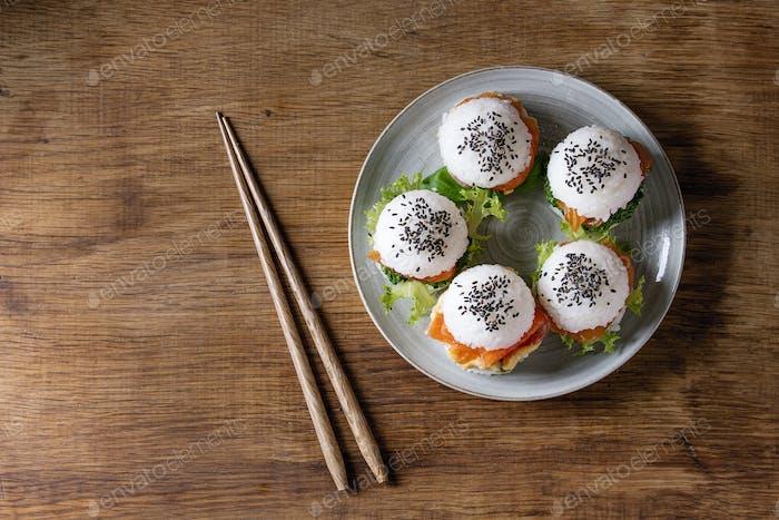 Rice sushi burgers