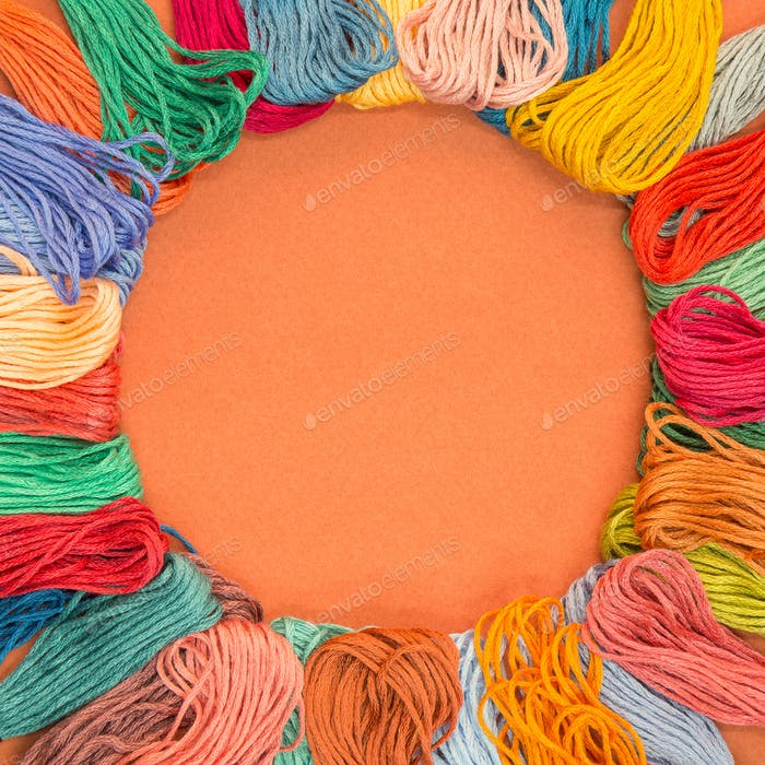 Knitting wool background with copy space