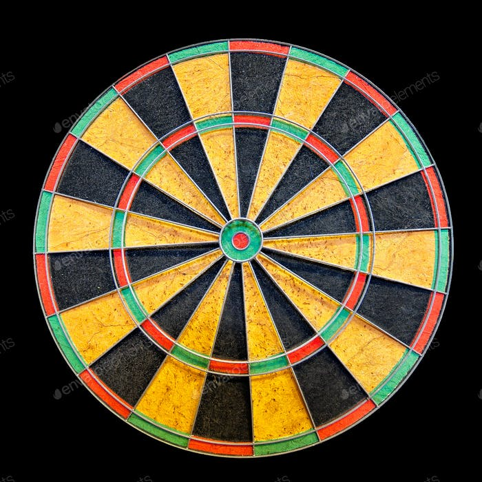 Dartboard isolated on black