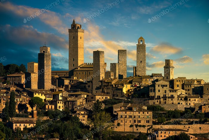 San Gimignano medieval town towers skyline and landscape. Tuscan