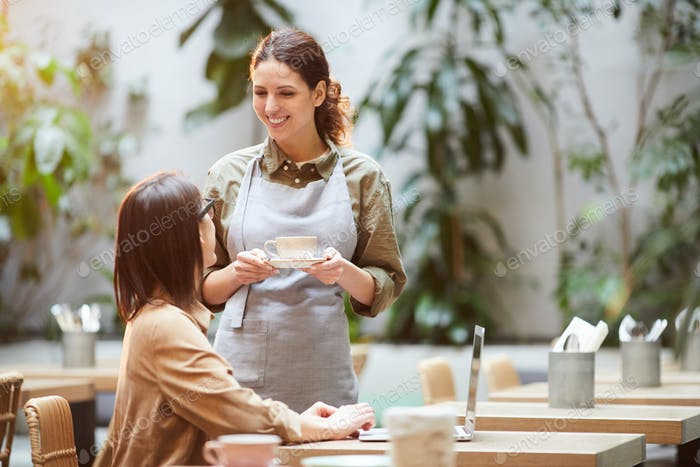 Attractive waitress serving coffee to guest