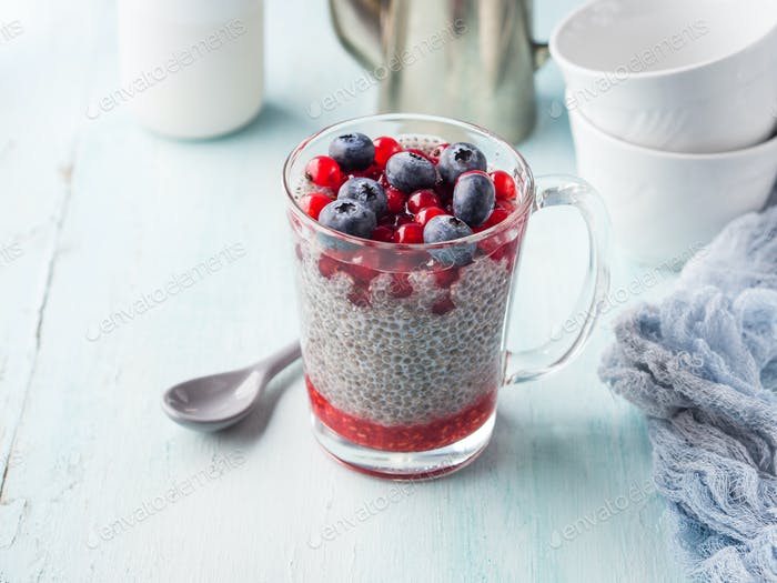 Almond milk chia pudding with fresh berries