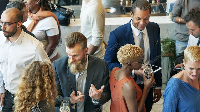 Diverse business people in a dinner party