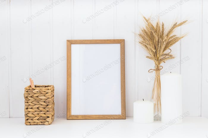 Image of mockup scene with empty wooden frame.