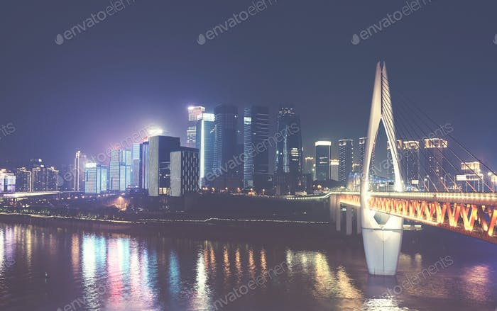 Chongqing City skyline at night, China.