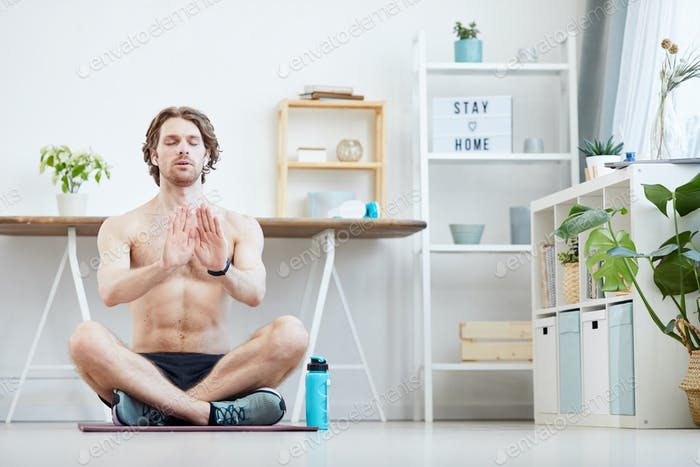Man doing breathing exercises