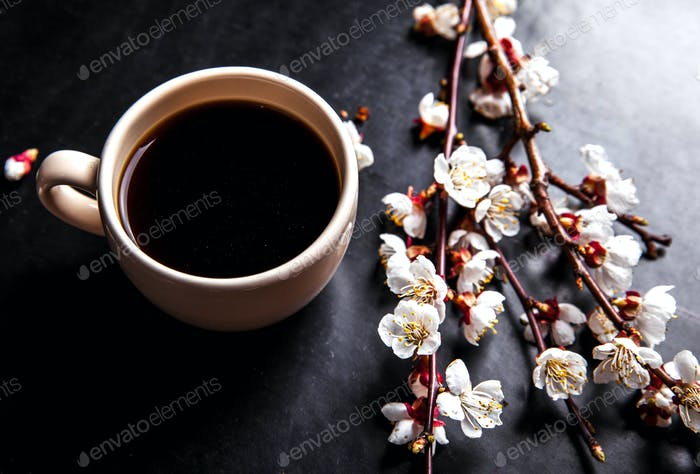 cup of coffee and pink cherry blossoms. flowers