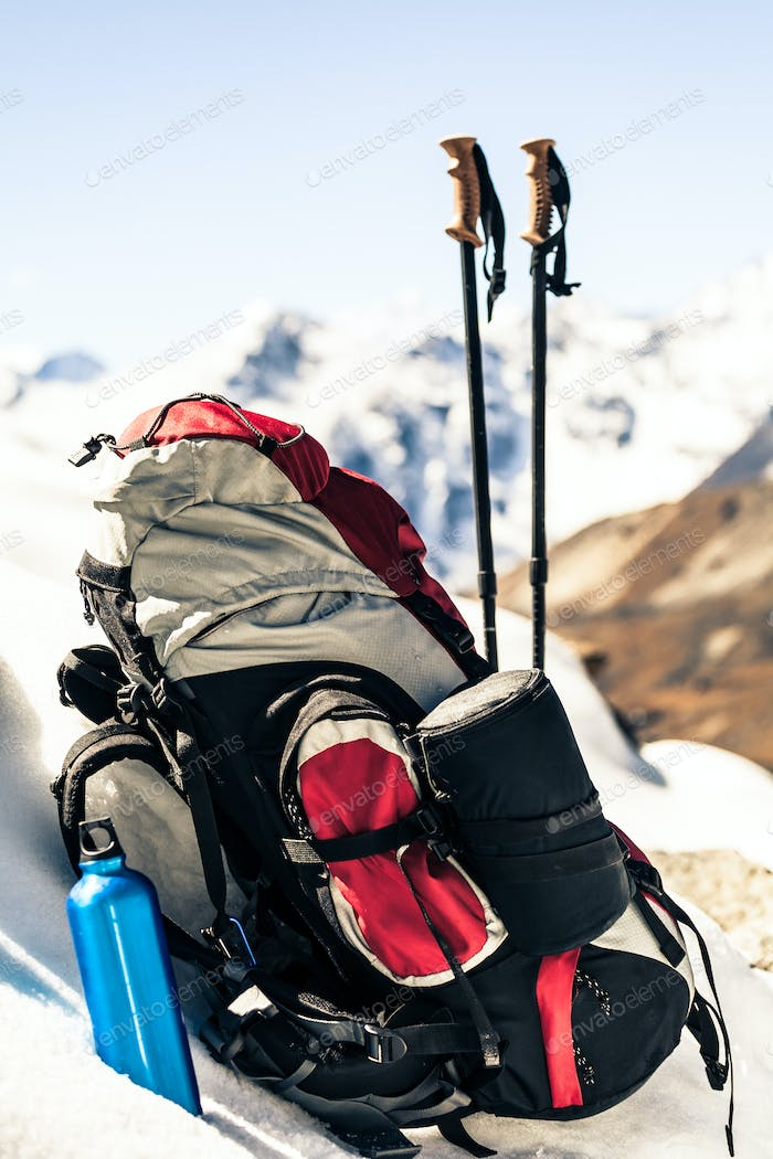 Hiking and camping equipment in mountains