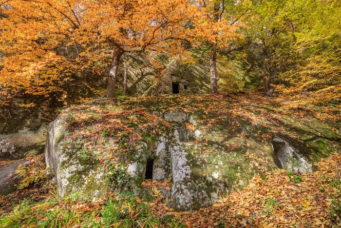 cave hermitage from Alunis. County Buzau, Romania